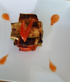 Roast Courgettes & Aubergines & Peppers Roasted In Balsamic Vinegar & Garlic